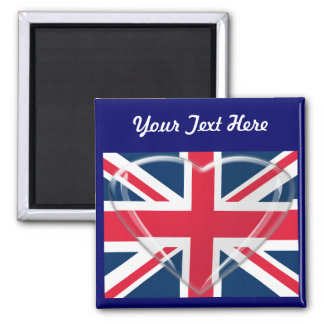 Union Jack Flag with Glass Heart Customisable Art 2 Inch Square Magnet