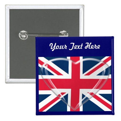 Union Jack Flag with Glass Heart Customisable Art Pin