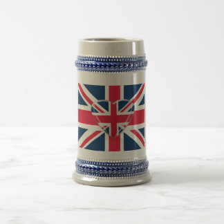 Union Jack Flag with Heart Design Beer Stein