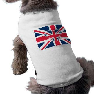 Union Jack Flag with Heart Design Dog T-shirt