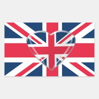 Union Jack Flag with Heart Design Rectangular Sticker