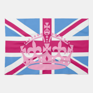 Union Jack Flag with Pink Crown Towel