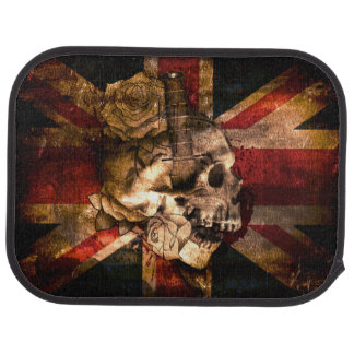 Union Jack Flag with Skull Rose Dagger Car Floor Mat