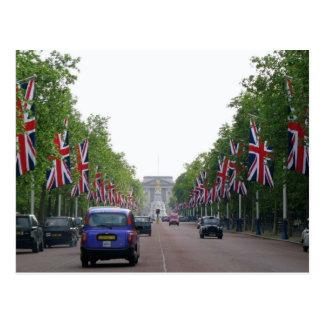 Union Jack Flags Along Street Postcard