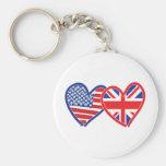 Union Jack Flat USA Flag Basic Round Button Keychain