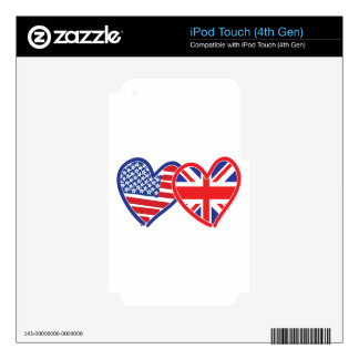 Union Jack Flat USA Flag Skin For iPod Touch 4G