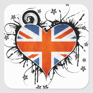 Union Jack Floral Heart Frame Square Sticker