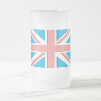 Union Jack Frosted Glass Beer Mug
