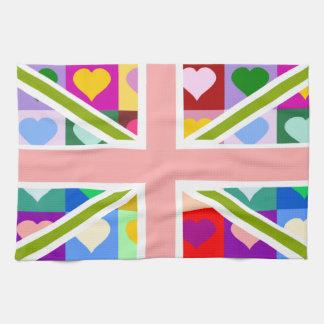 Union Jack - Girly Hearts pattern Towel