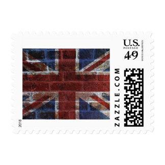 Union Jack Great Britain Flag on Grunge Brick Wall Stamp