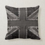 Union Jack grunge black & white toss pillow