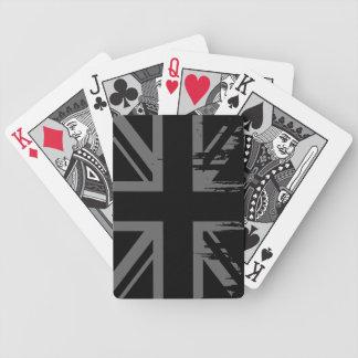 Union Jack (grunge silver UK flag) Bicycle Card Decks