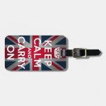 Union Jack guarda calma y continúa Etiquetas De Equipaje