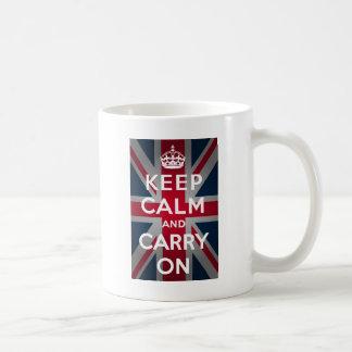 Union Jack guarda calma y continúa Tazas De Café