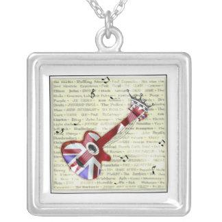 Union Jack Guitar Rock Music Pendant Square Pendant Necklace