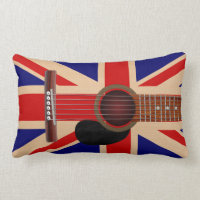 Union Jack Guitar Throw Pillow