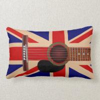 Union Jack Guitar Throw Pillow