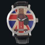 """Union Jack Guitar Wristwatch<br><div class=""""desc"""">Illustration of a  Union Jack flag styled acoustic guitar.</div>"""
