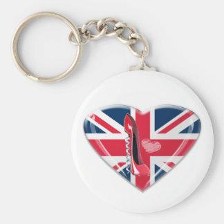 Union Jack Heart and Corkscrew Red Stiletto Shoe Basic Round Button Keychain