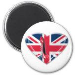 Union Jack Heart and Corkscrew Red Stiletto Shoe Fridge Magnet