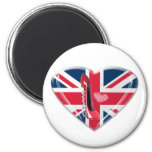 Union Jack Heart and Corkscrew Red Stiletto Shoe Magnets