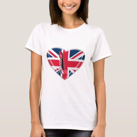 Union Jack Heart and Corkscrew Red Stiletto Shoe T-Shirt