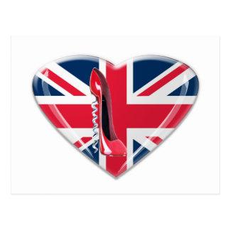 Union Jack Heart and Corkscrew Stiletto Shoe Postcards