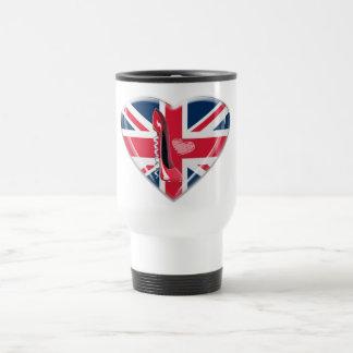 Union Jack Heart and Corkscrew Stiletto travel mug