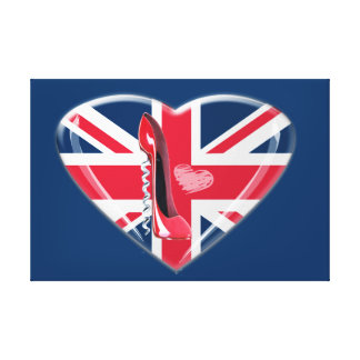 Union Jack Heart and Stiletto Canvas Print