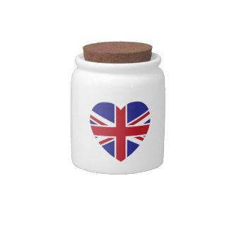 Union Jack Heart Candy Jar