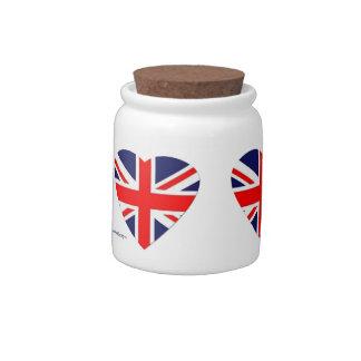 Union Jack Heart Candy Jars