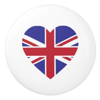 Union Jack Heart Ceramic Drawer Pull Knob