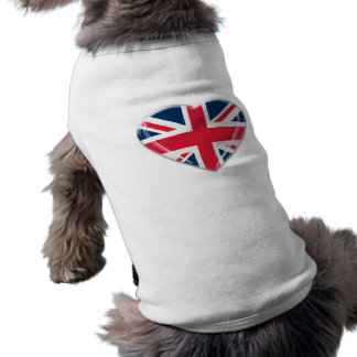 Union Jack Heart Design Dog T Shirt