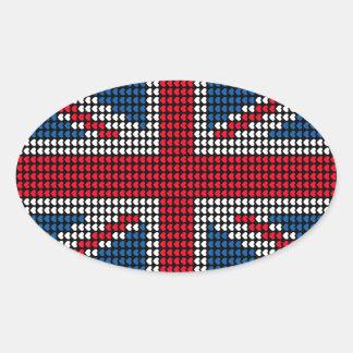 Union Jack Heart Oval Sticker