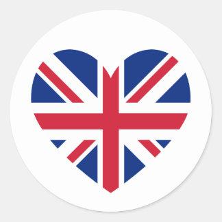 Union Jack Heart Shape Classic Round Sticker