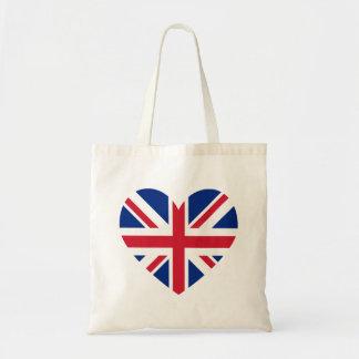 Union Jack Heart Shape Tote Bag