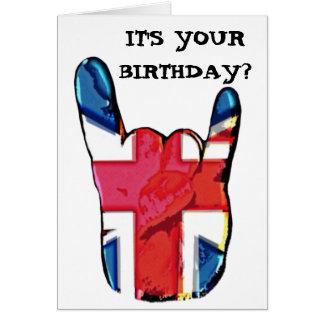 Union Jack Horns Pop Art Rock Birthday Card