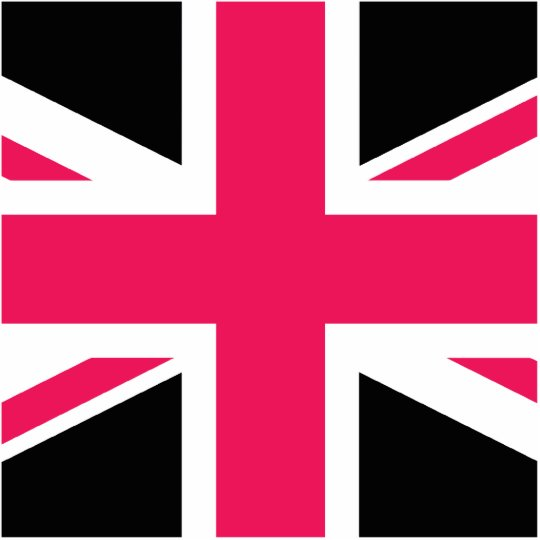 Union Jack ~ Hot Pink Black and White Cutout