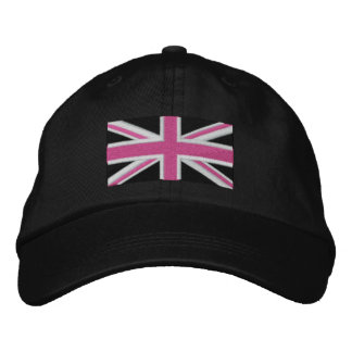 Union Jack ~ Hot Pink Black and White Embroidered Baseball Hat