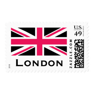Union Jack ~ Hot Pink Black and White Postage