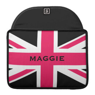 Union Jack ~ Hot Pink Black and White Sleeve For MacBook Pro