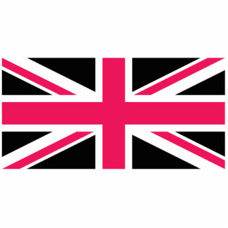 Union Jack ~ Hot Pink Black and White Statuette