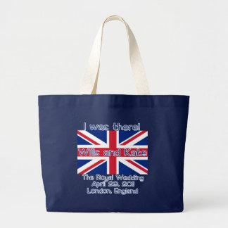Union Jack I ESTABA ALLÍ camiseta real del boda Bolsa Tela Grande