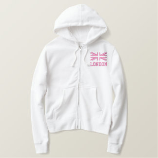 Union Jack ~ In Girly Pinks Embroidered Hoodie