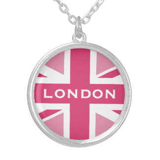 Union Jack in the Pinks Round Pendant Necklace