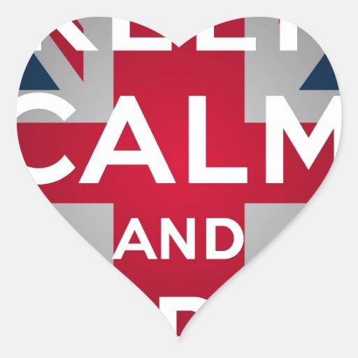 Union Jack Keep Calm And Carry On Heart Sticker