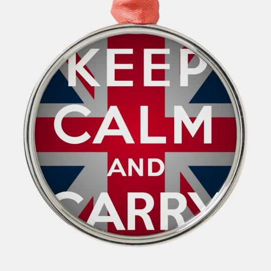 Union Jack Keep Calm And Carry On Metal Ornament