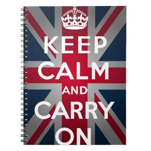 Union Jack Keep Calm And Carry On Notebooks