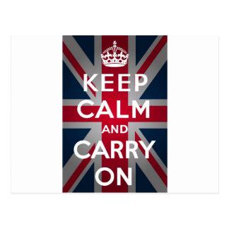 Union Jack Keep Calm And Carry On Postcard