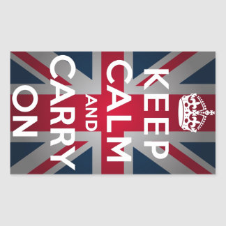 Union Jack Keep Calm And Carry On Rectangular Sticker